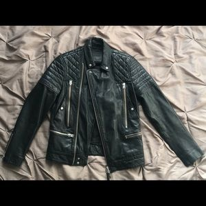 All Saints Quilted Leather Biker Jacket - XS